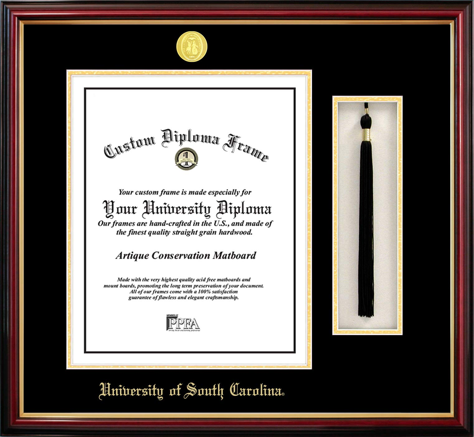 Campus Images SC995PMHGT University of South Carolina Tassel Box and Diploma Frame, 14'' x 11''
