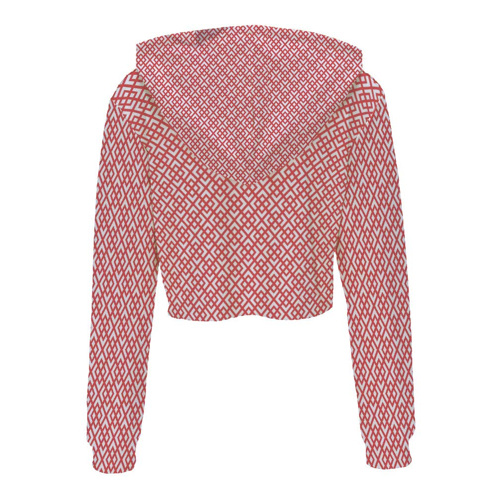 Hooded Sweatshirt Hip hop Clothing for Women S//M Dark Coral and WhiteSquare Sha