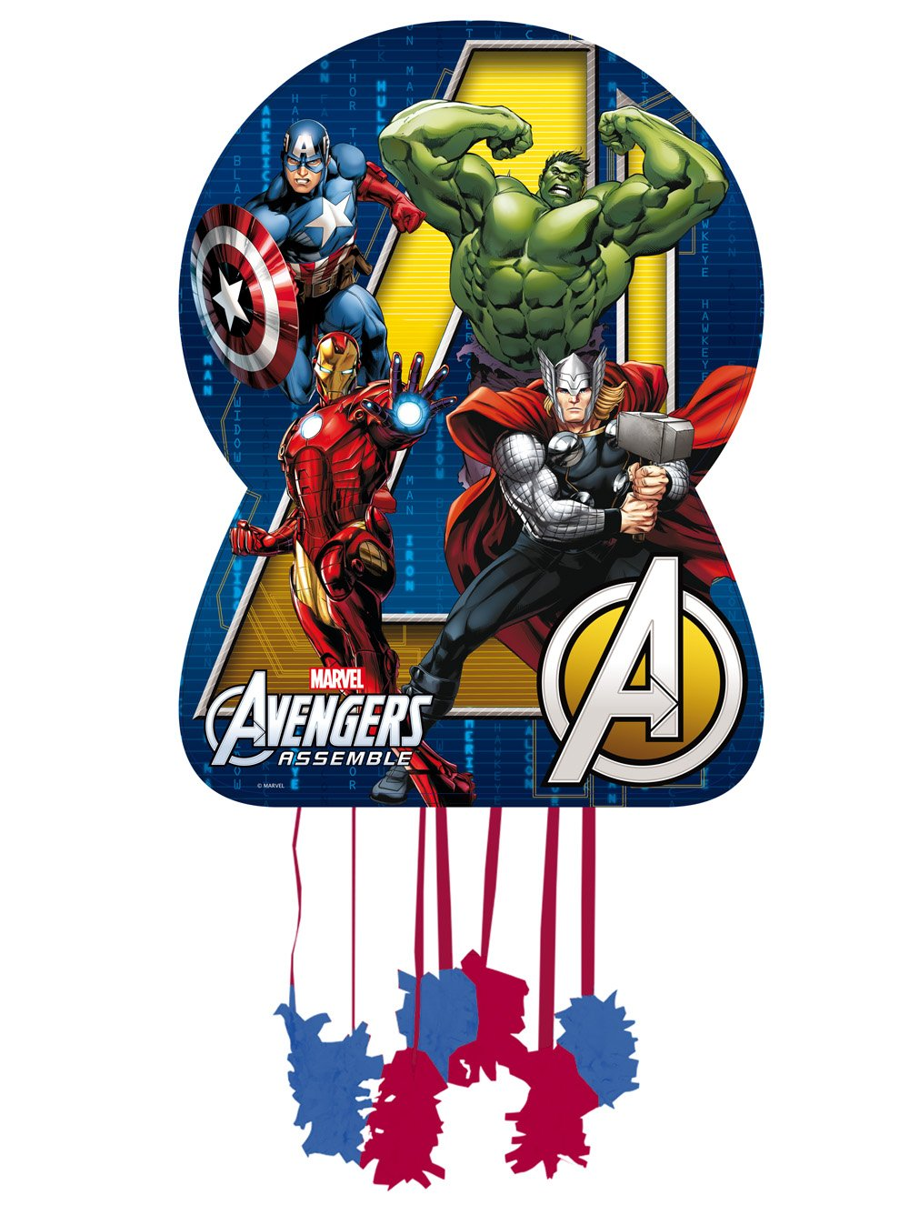 Los Vengadores - Piñata silueta, 46x65 cm para cumpleaños y celebraciones(Verbetena 014300053)