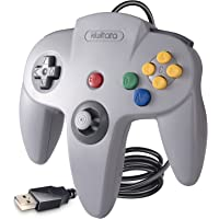 Classic N64 USB Controller for N 64 Games ,KIWITATA Retro N64 Bit Wired PC Controller Gamepad for Windows PC Mac Linux RetroPie Gray