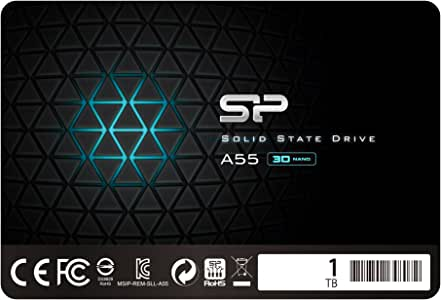 "Silicon Power 1TB SSD 3D NAND A55 SLC Cache Performance Boost SATA III 2.5"" 7mm (0.28"") Internal Solid State Drive (SU001TBSS3A55S25UB)"