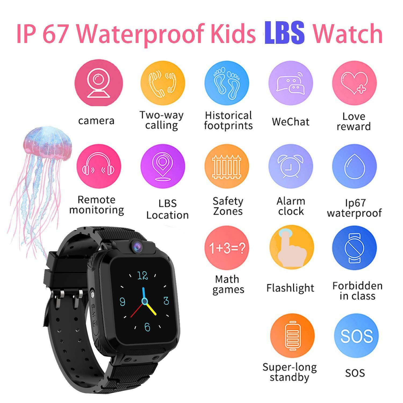 Niños Smartwatch Impermeable, Reloj Inteligente Phone con LBS Tracker SOS Chat de Voz Cámara Despertador Juego Cálculo para Regalos Estudiantes ...