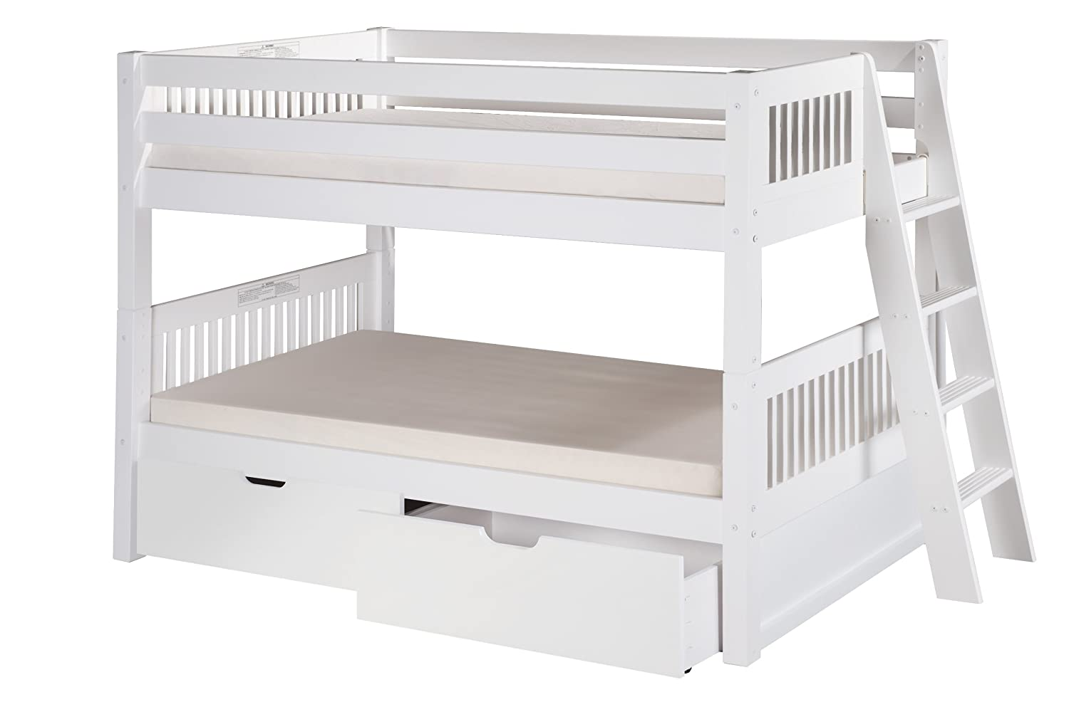 amazoncom camaflexi mission style solid wood low bunk bed with drawers side attached ladder white kitchen u0026 dining