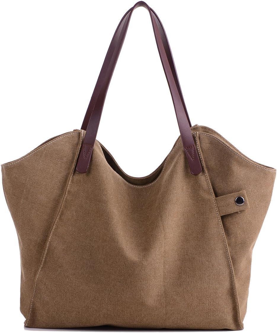 LOSMILE Mujer Bolsos de mano lona bolsos de hombro Bolsos totes Bolsos bandolera Shoppers Bolsa de playa. (Marrón)