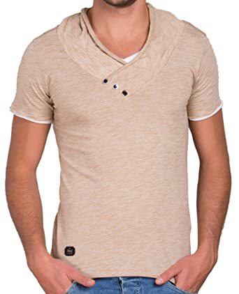 Red Bridge Men's Shirt Slim Fit Button V-Neck T-Shirt Camel