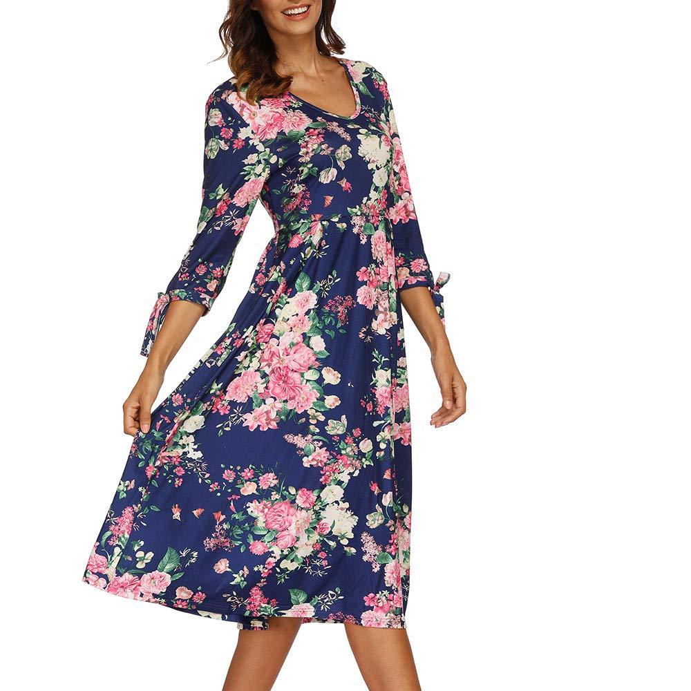 Womens Dresses Hot Sale,DEATU Ladies Autumn 3/4 Flare Sleeves Print Sexy Dress(Blue,XXXL)