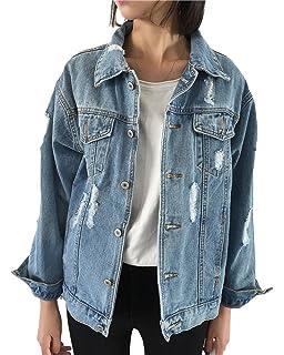 Mujeres Oversized Denim Jacket Chaqueta de Mezclilla de ...