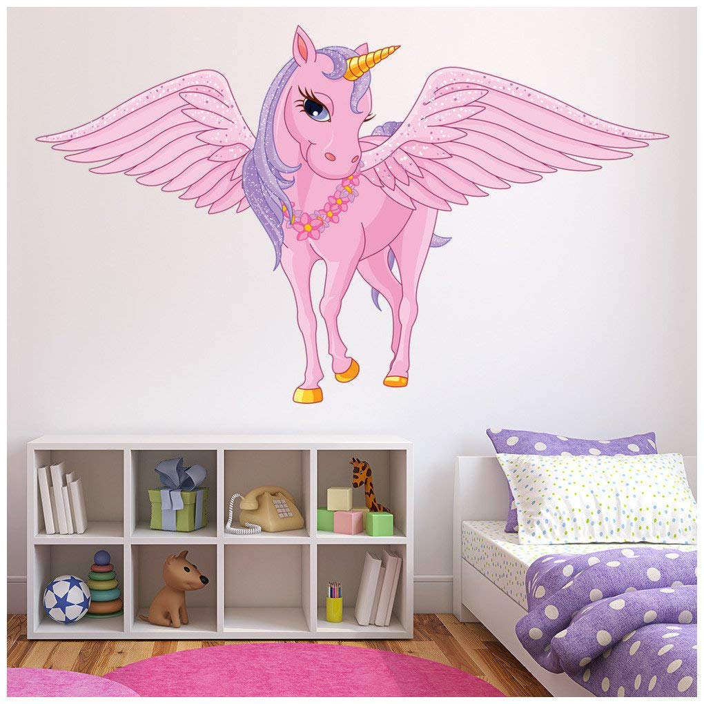 Pink Unicorn Wall Sticker Fairy Tale Fantasy Wall Decal Girls Room Nursery Decor available in 8 Sizes X-Small Digital