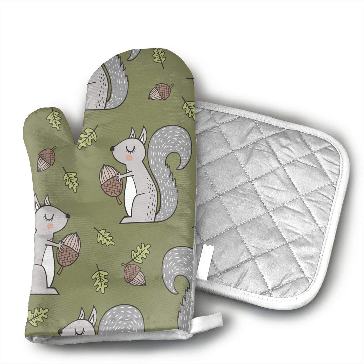 GUYDHL Unisex Oven Mitt and Pot Holder for Forest Squirrel Squirrels with Leaves - 2 Pair