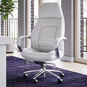 Zuri Furniture Gates Genuine Leather Aluminum Base High Back Executive Chair - White