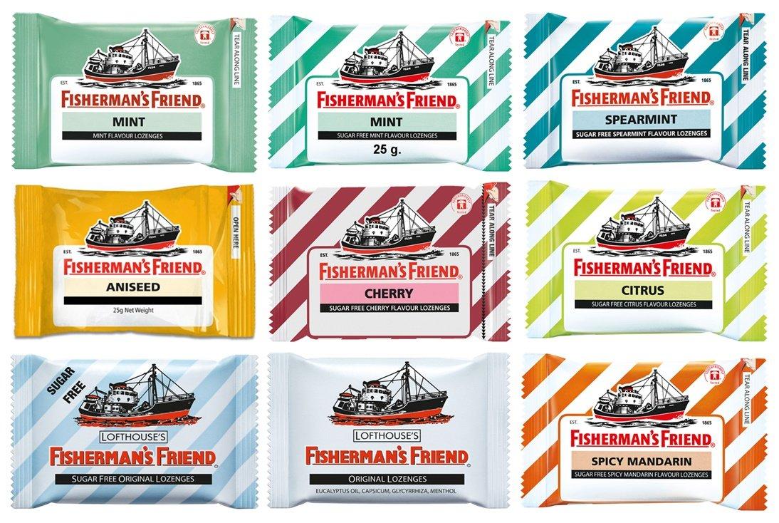 9 Flavours of Fisherman's Friend - Fisherman's Friend Mint, Sugar Free Spearmint, Sugar Free Mint, Original, Sugar Free Citrus, Sugar Free Original, Sugar Free Cherry, Sugar Free Mandarin and Aniseed (9 Packs)