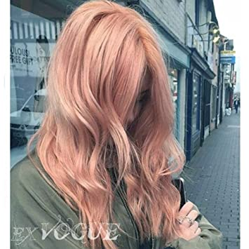 Amazon Com Exvogue Fashion Dark Pastel Pink Blonde Lace Front Wigs