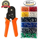 Ferrule Crimper, Ernovo Crimping Plier Wire Terminal and Connection Kit, Wire ferrule with 800pcs Connectors Terminal