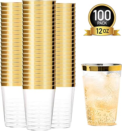 12oz Gold Plastic Cups-100pack Clear Plastic Cups with Gold Rim-Wedding//Party