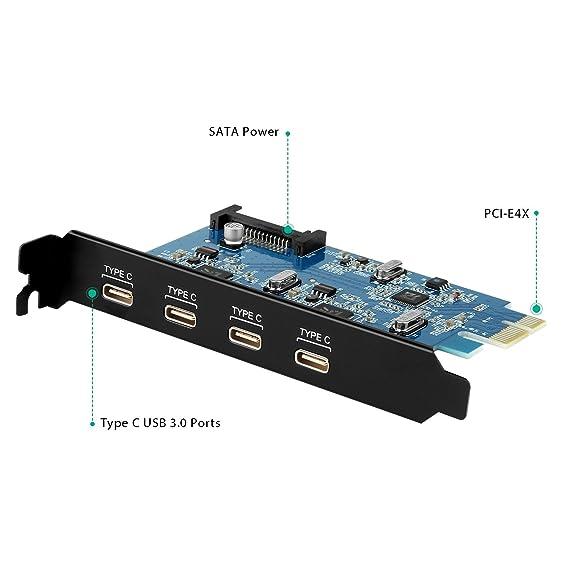 AUKEY USB 3.0 de 4 Puertos Tarjeta PCI Express Tarjeta de ...