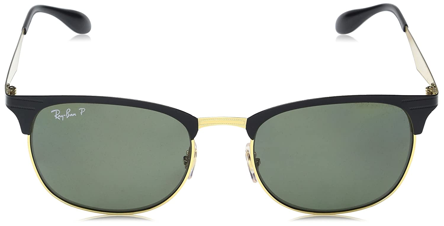 0f2a0f8604 Amazon.com  Ray-Ban METAL UNISEX SUNGLASS - TOP SHINY BLACK ON GOLD Frame  LIGHT BROWN MIRROR PINK Lenses 53mm Non-Polarized  Clothing
