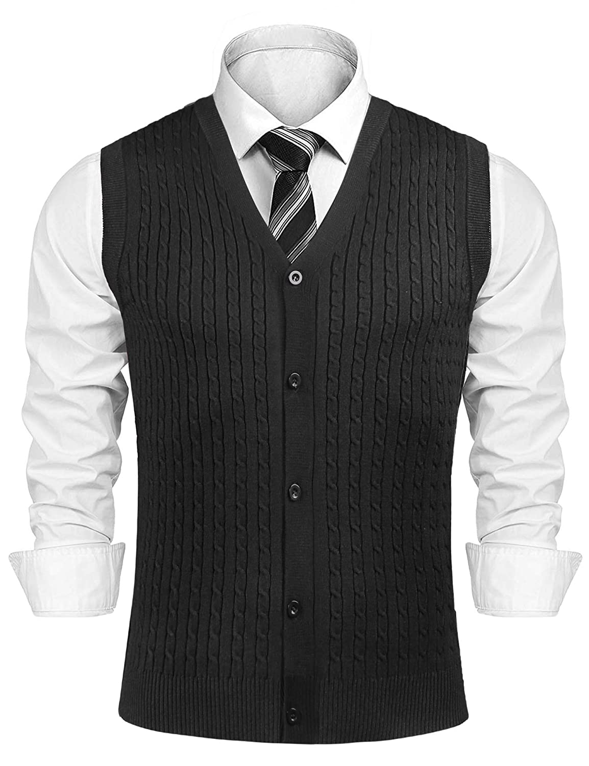 Sykooria Mens Gilets V Neck Sleeveless Vest Waistcoat Cotton Gentleman Chunky Winter Knitted Ribbed Tanks Tops Winter