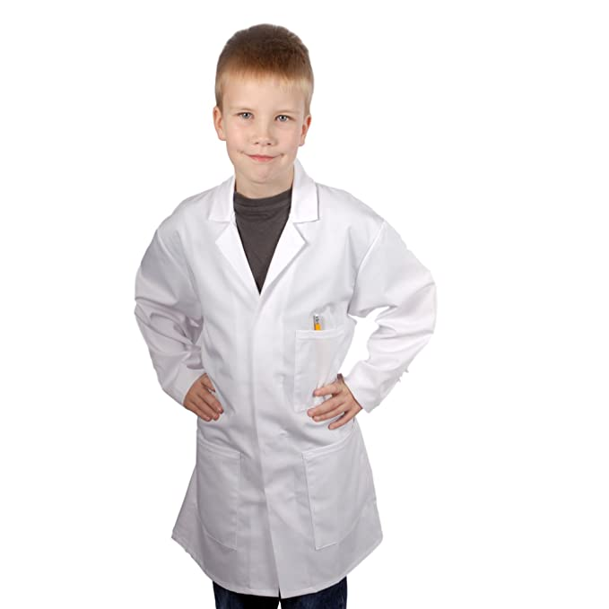 Bata blanca de laboratorio o médico para niños blanco blanco: Amazon ...