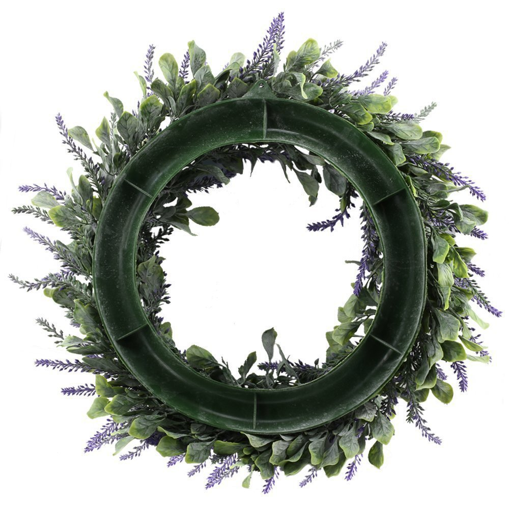 Evoio Artificial Lavender, 17'' Wreath DIY Silk Flowers Garland Pendant for Front Door Wall Home Wedding Decoration- purple by Evoio (Image #7)