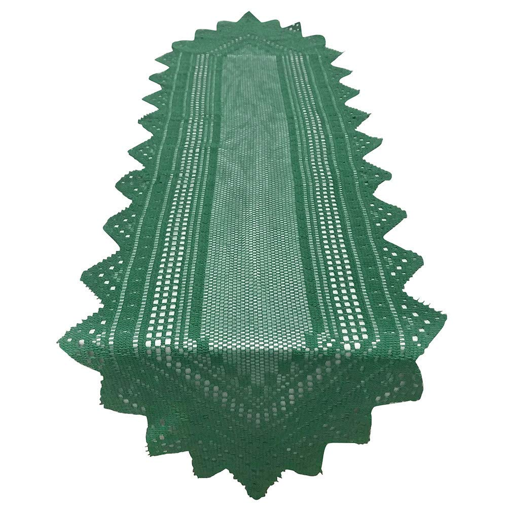 LiPing 8.6×44in Christmas Polyester Crochet Lace Table Runner Dinner Parties Restaurant Decor Party Decor Plastic Table Cloth Square Table Cover (Green)