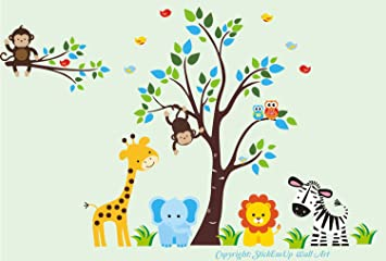 amazon com baby room wall decals kids room wall stickers jungle