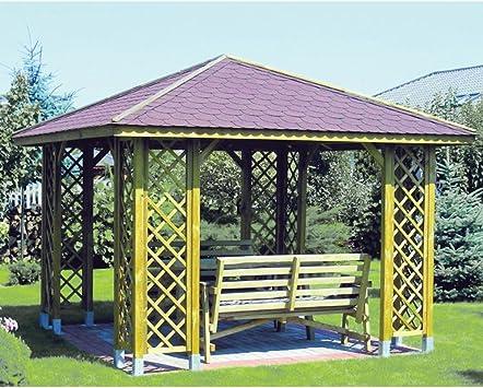 Gazebo Ania 300 x 300 cm, diseño de jardín con luz LED exterior de ...