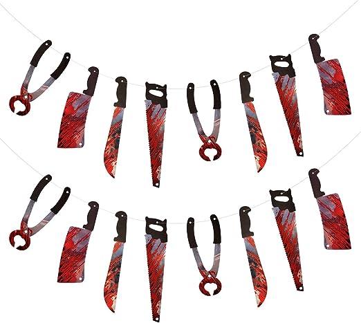 Girlande blutige Waffen Werkzeuge Halloween Horror Grusel Blut 2,29 m 5,24 €//m