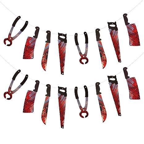 ZERHOK Decoracion Horrible 2pcs Cuchillo con Sangre Colgante ...