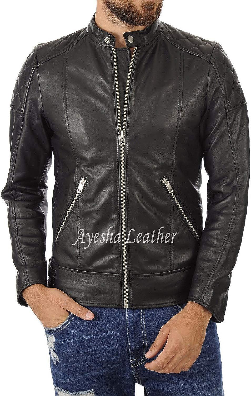 Ayesha Mens Leather Jackets Motorcycle Bomber Biker Genuine Lambskin 469
