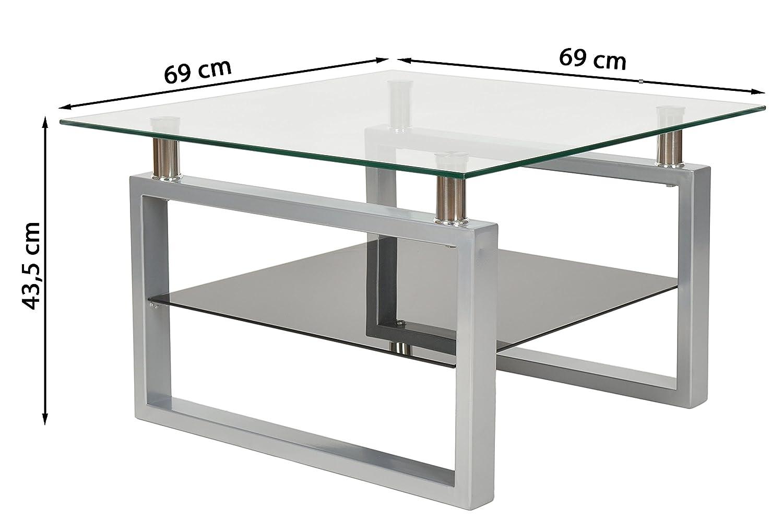 ts-ideen Design Hartglas Wohnzimmer Couch Glastisch Glas Beistell ...