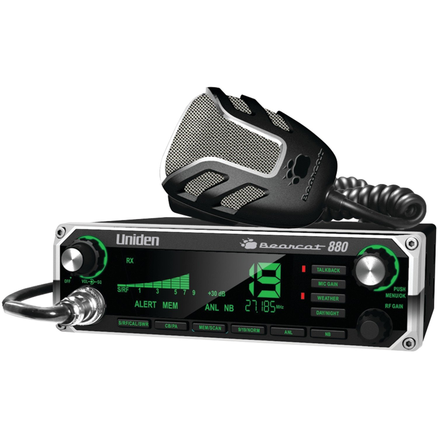 Uniden BEARCAT 880 CB Radio with 40 Channels and Large Easy-to-Read 7-Color LCD Display with Backlighting, Backlit Control Knobs/Buttons, NOAA Weather Alert, PA/CB Switch, and Wireless Mic Compatible, by Uniden