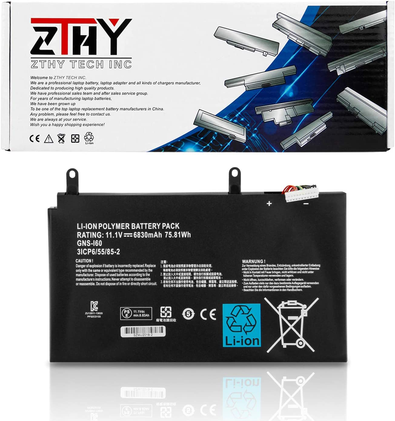 ZTHY New GNS-I60 Battery Replacement for Gigabyte P35G P35K P35W P35X P37K P37W P37X P57W P57X v2 v3 v4 v5 v6 v7 Series Gaming Laptop Fit 961TA010FA GNS-160 11.1V 75.81Wh 6830mAh 6Cell