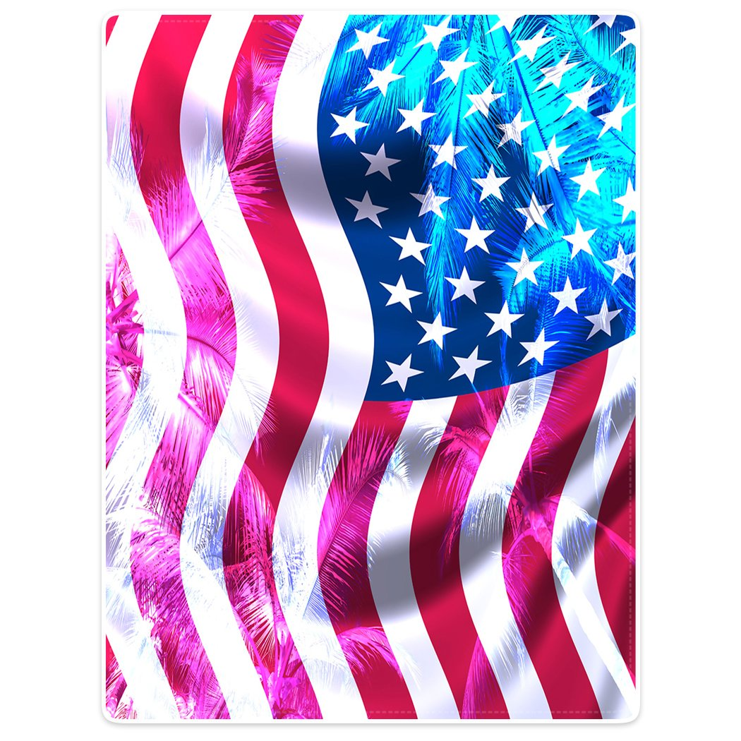 Blanket Sofa Bed Throw Lightweight Cozy Plush American Flag Sunshine Palm Tree US 60''x80''