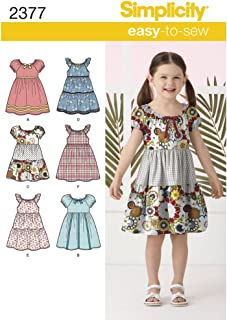 product image for Simplicity Learn To Sew Patterned Girl's Dress Sewing Pattern Template, Sizes 3-8
