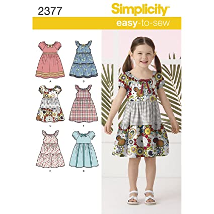 ad3a28f80ed9 Amazon.com: Simplicity Learn To Sew Patterned Girl's Dress Sewing Pattern  Template, Sizes 3-8: Arts, Crafts & Sewing