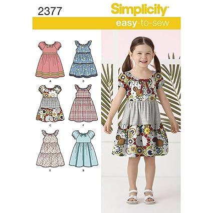 301c450e3 Simplicity 2377 - Patrones de Costura para Hacer Vestidos de niña ...