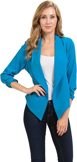Women's Sleeve Casual Work Lined Open Front Cardigan Blazer