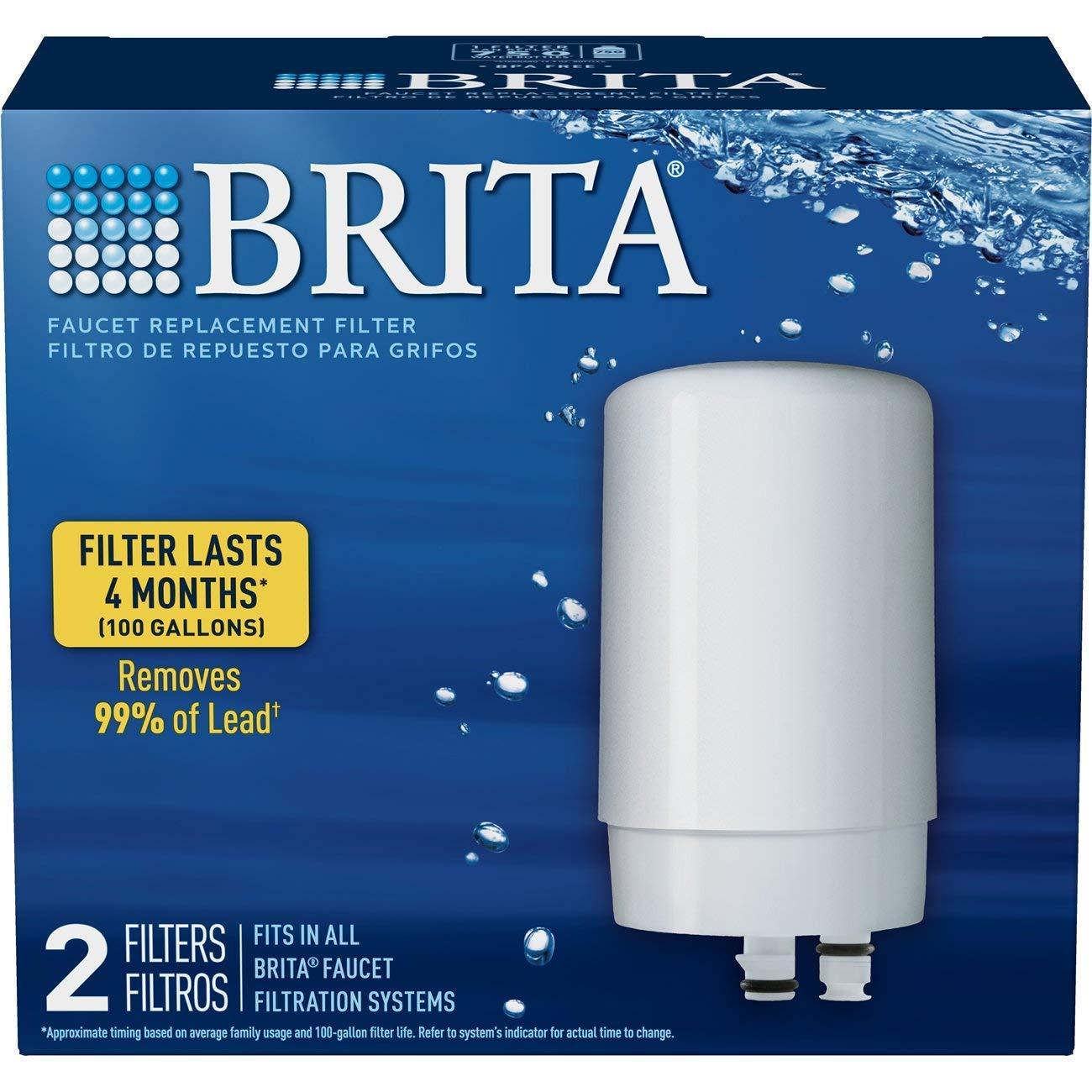 Brita On Tap Basic Water Faucet Filtration System Filter White 2 pack Renewed