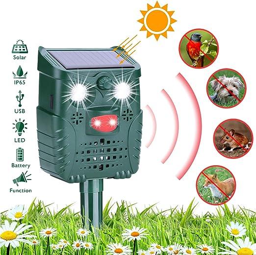 HEYSTOP Repelente para Gatos, Repelente ultrasónico para Animales Ahuyentador, con LED, Carga Solar Sensor de Movimiento y Luz Intermitente Detector para Gatos, Perros, Aves, Ardillas, Topos, Ratas: Amazon.es: Jardín