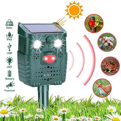 HEYSTOP Repelente para Gatos, Repelente ultrasónico para Animales Ahuyentador,con LED,Carga Solar Sensor de Movimiento y Luz Intermitente Detector ...