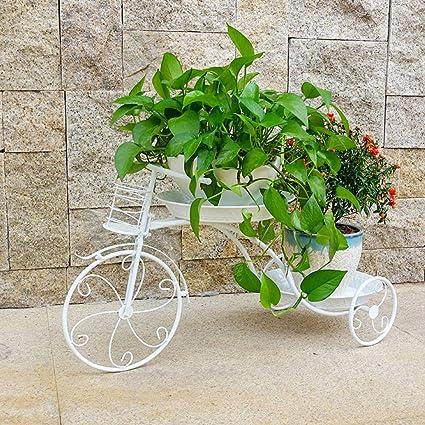Vehículo de tres ruedas Macetas de plantas, Maceta Carro soporte El hierro Estanteria para macetas