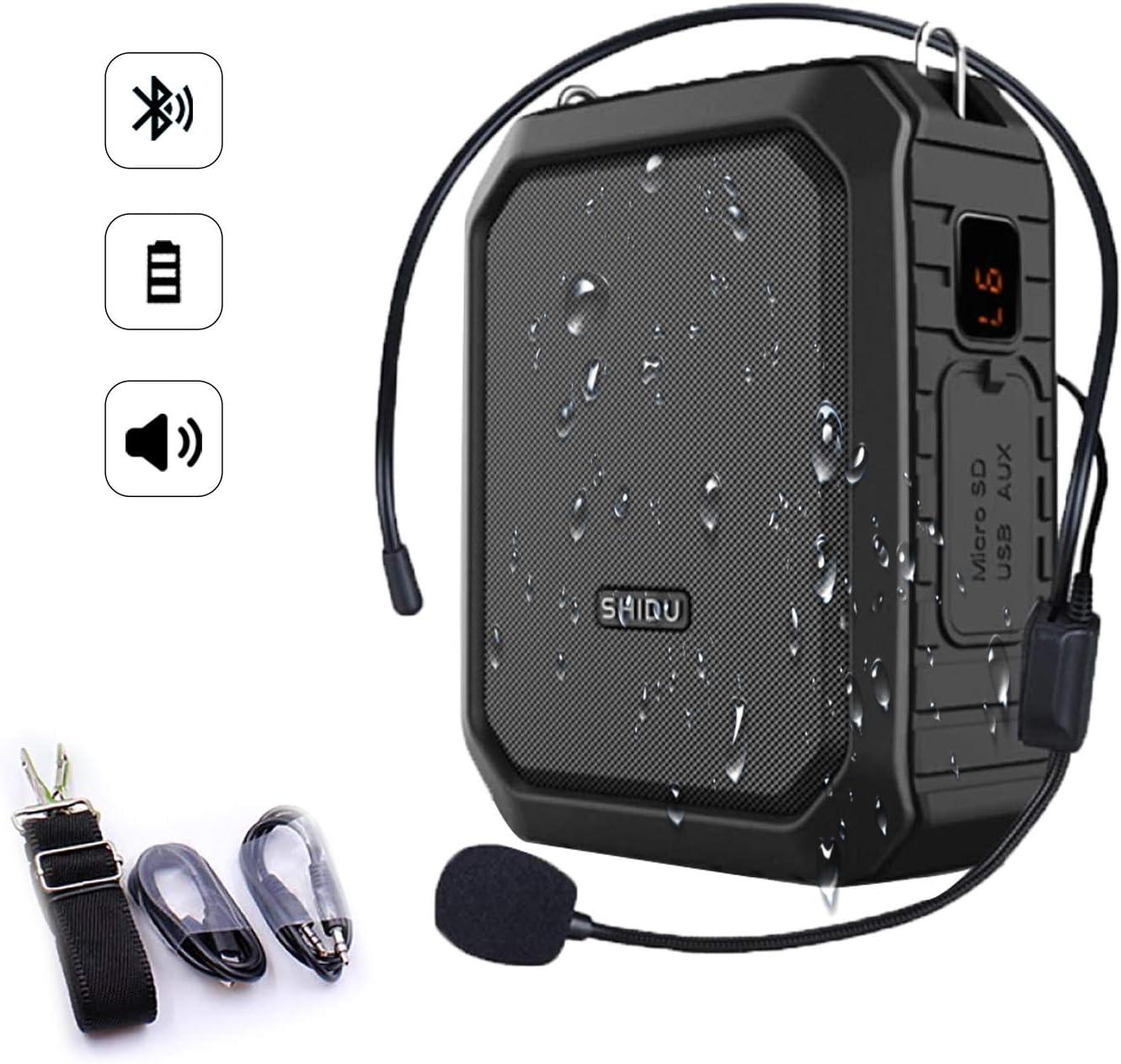SHIDU Bluetooth Amplificador de voz 18W con auriculares con micrófono con cable Altavoz Bluetooth portátil a prueba de agua Sistema de PA recargable Banco de energía para exteriores, maestros, ducha