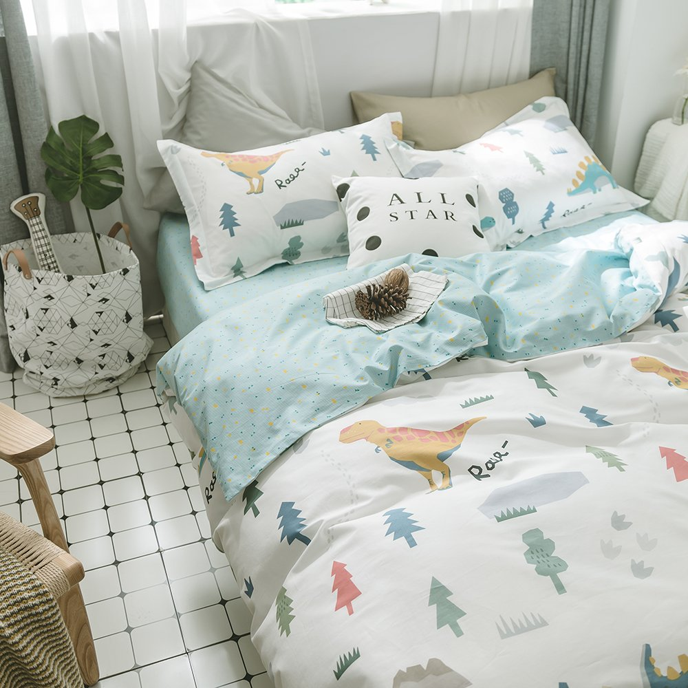 HIGHBUY Queen Kids Bedding Sets Full Cotton Dinosaur Animal Forest Print Duvet Cover Sets Queen Reversible Full Comforter Cover Blue Grids 3 Piece for Women Girls Boys Lightweight Soft Queen Bedding by HIGHBUY (Image #3)