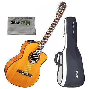 TAKAMINE gc3cenat clásica acústica guitarra eléctrica w/polaco Cloth ...