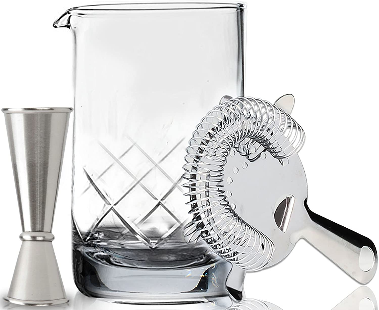 Premium Cocktail Mixing Glass Set - Thick Bottom 18oz (550ml) Seamless Lead Free Crystal Mixing Glass, Jigger & Strainer - Professional Quality - Makes a Great Gift Mofado