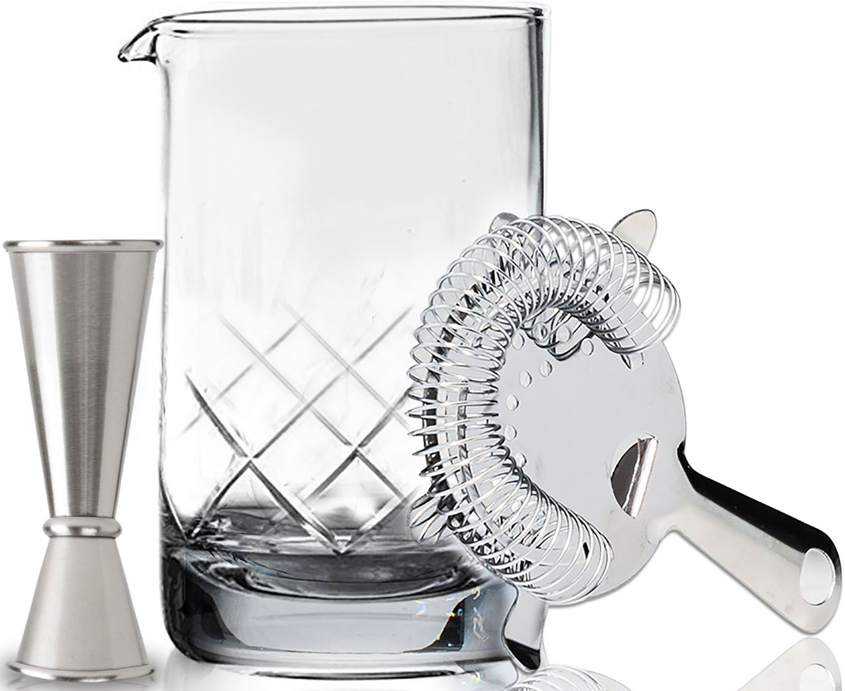 Premium Cocktail Mixing Glass Set - Thick Bottom 18oz (550ml) Seamless Lead Free Crystal Mixing Glass, Jigger & Strainer - Professional Quality - Makes a Great Gift