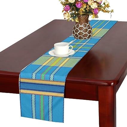 QYUESHANG Plaid Tartan Scottish Blue Yellow Spring Green Table Runner,  Kitchen Dining Table Runner 16