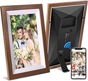 JHZL 10.1 Inch 16GB Smart WiFi Digital Picture Frame, Danish Design Frameo App Send Photos or Small Videos from Anywhere, Touchscreen, IPS 1280x800 LCD Panel, Portrait and Landscape(Solid Wood Frame)