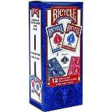 Bycicle - Cartas de juego estándar de tamaño de póquer, Paquete de 12, Rojo, azul, Paquete de 12 unidades