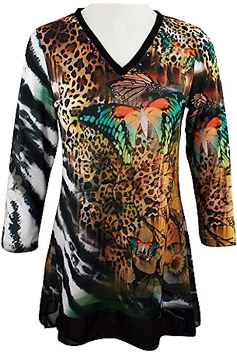 3//4 Sleeve V-Neck Chrome Snap Accents Fashion Top Boho Chic Vintage Ways